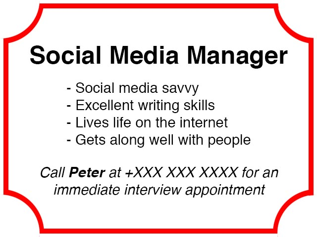 Social Media Management Wanted Ad