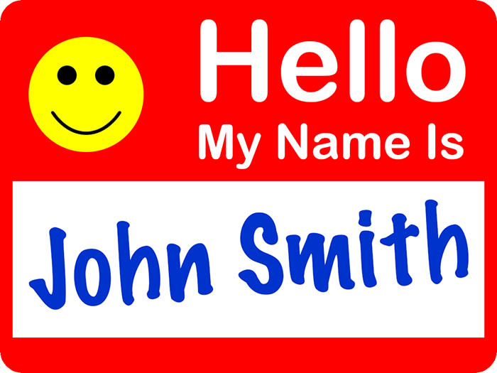 "A ""Hello My Name Is..."" sticker, with the name John Smith written on it. Your identity is your brand, because branding simply works."