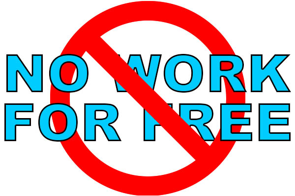 "Text logo crossing out ""No Work For Free"" to show support that creative people don't sell services for payment with exposure."