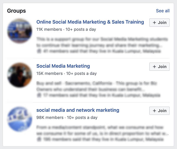Screen capture of advertisements of social media marketing training courses.
